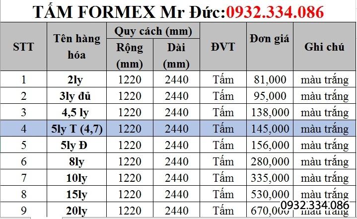 bảng giá tấm nhựa pvc formex-foam format